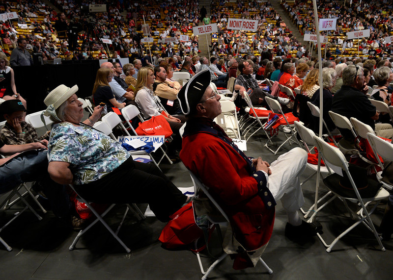 . David Cook, who says he is wearing the United States Navy uniform from 1776, listens as the Colorado Republican Party holds its state assembly for statewide candidates running for office at the Coors Event Center on the University of Colorado campus in Boulder. (Kathryn Scott Osler, The Denver Post)
