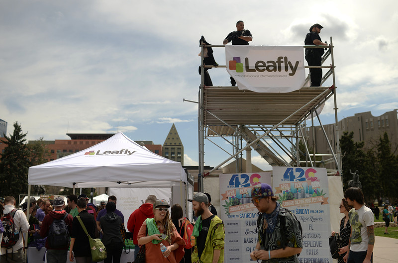 . A security tower is installed for the 420 Rally weekend in Civic Center Park, Denver, Colorado, April 19, 2014.  (Photo by Hyoung Chang/The Denver Post)