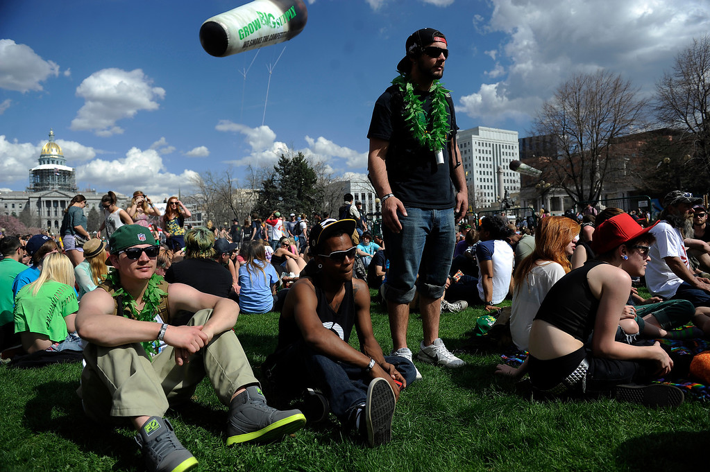 . Zach Rose, 24, of Colorado Springs, dances to the music during the 420 Rally at Civic Center Park in Denverlorado on April 20, 2014. (Photo by Seth McConnell/The Denver Post)