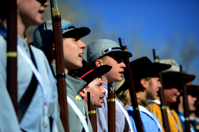 . Four hundred eighth-grade students from the Adams 12 School District reenact scenes from the Battle of Spotsylvania and the Battle of Cold Harbor during Century Middle School\'s annual Civil War Reenactment at Lake Village Park in Thornton on Thursday, April 24, 2014. �You Can Live History,� a Colorado-based nonprofit, provided authentic uniforms and weaponry and filmed the battles. (Photo By Lindsay Pierce/The Denver Post)