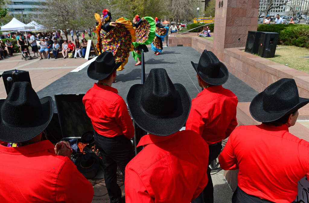 . Dancers with Fiesta Colorado Colorado Dance Company perform the  Costa de Sinaloa dance during the Cinco de Mayo celebrations at Civic Center Park in Denver, CO on May 24 2014. (Photo By Helen H. Richardson/ The Denver Post)
