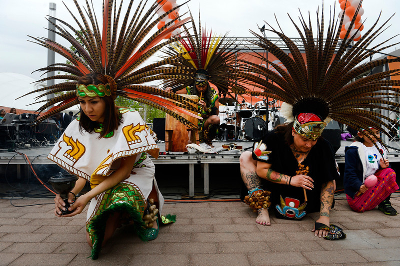 . Members of Grupo Tlaloc, perform a native American blessing dance at the grand opening of the Union Station Transit Center Friday morning, May 09, 2014.  (Photo By Andy Cross / The Denver Post)