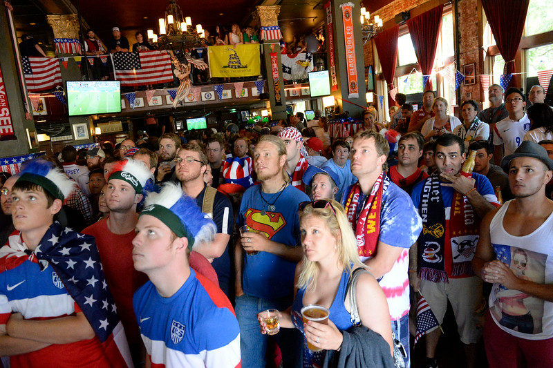 . USA fans gathered at The Three Lions Pub on Colfax and York St. June 26, 2014 to watch the US play Germany in World Cup competition in Recife. USA lost to Germany 1-0 but still advance to the round of 16 in the World Cup. (Photo by John Leyba/The Denver Post)
