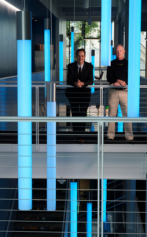 . Denver Art Museum director  Christoph Heinrich, left,  and Jeff Shepard architect at new administrative building for the museum on Thursday, June 26, 2014.  (Denver Post Photo by Cyrus McCrimmon)