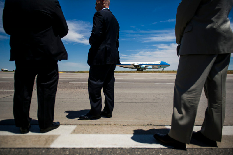 . Air Force One taxis along the runway at Denver International Airport on Wednesday, July 09, 2014 in Denver, CO.  The President is en route to Dallas, TX where he will meet local elected officials and faith leaders to discuss the humanitarian situation at the Southwest border. (Photo by Kent Nishimura/The Denver Post)
