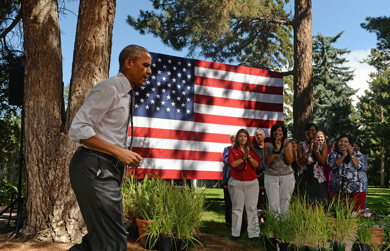 . President Barack Obama arrives for a speech at Cheesman Park in Denver, July 09, 2014. After the speech President Obama will attend a private luncheon at the Westin Denver Downtown hotel to raise money for U.S. Sen. Mark Udall\'s re-election campaign. (Photo by RJ Sangosti/The Denver Post)