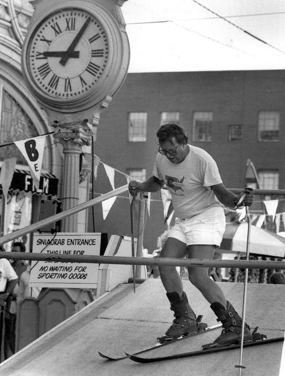 . Arja Lehn on the portable Ski Ramp In Front of The Gart Bros Sports Castle For The 35th Annual Sniagrab, On Broadway in 1989.  Credit: The Denver Post