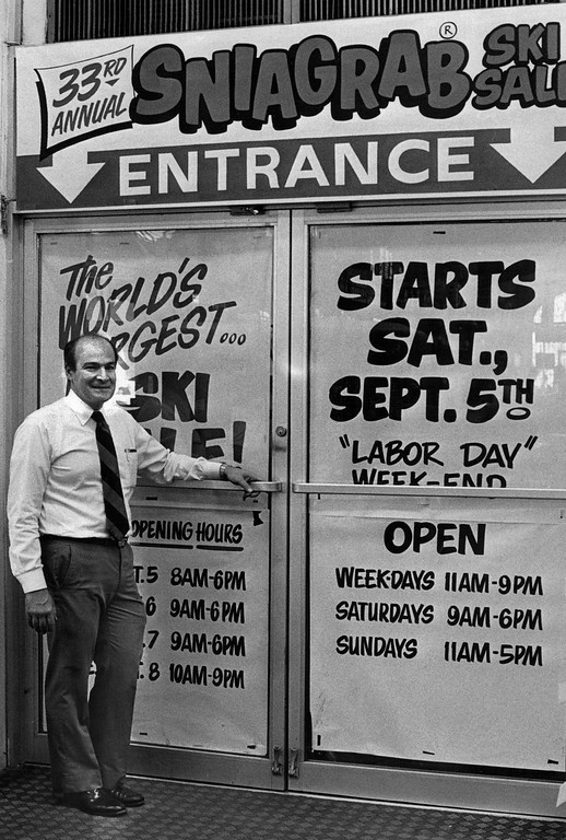 . Mickey Gart in front of Gart Bros. 10th And Broadway in 1987. Credit: The Denver Post