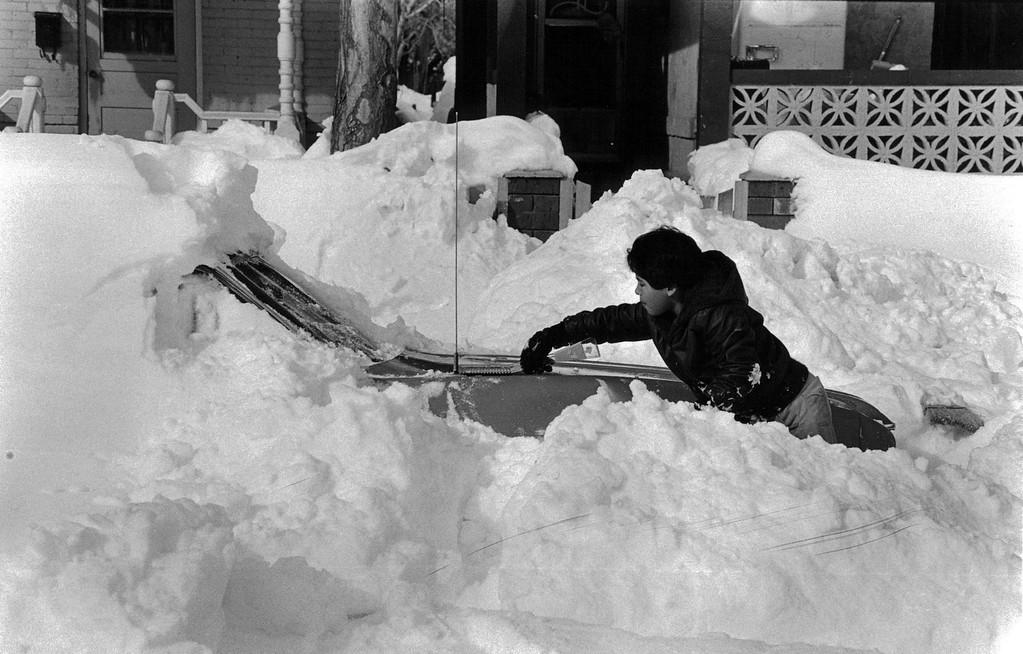 . Trying to clear out after the Blizzard of \'82. Denver Post Library Archive