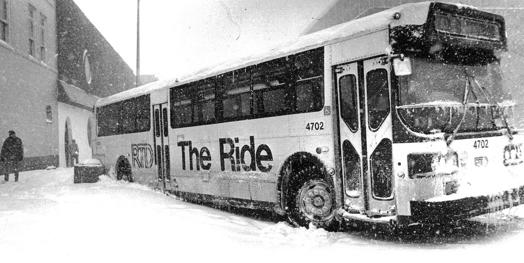 . A bus stuck on the side of the street during the Blizzard of \'82. Denver Post Library Archive