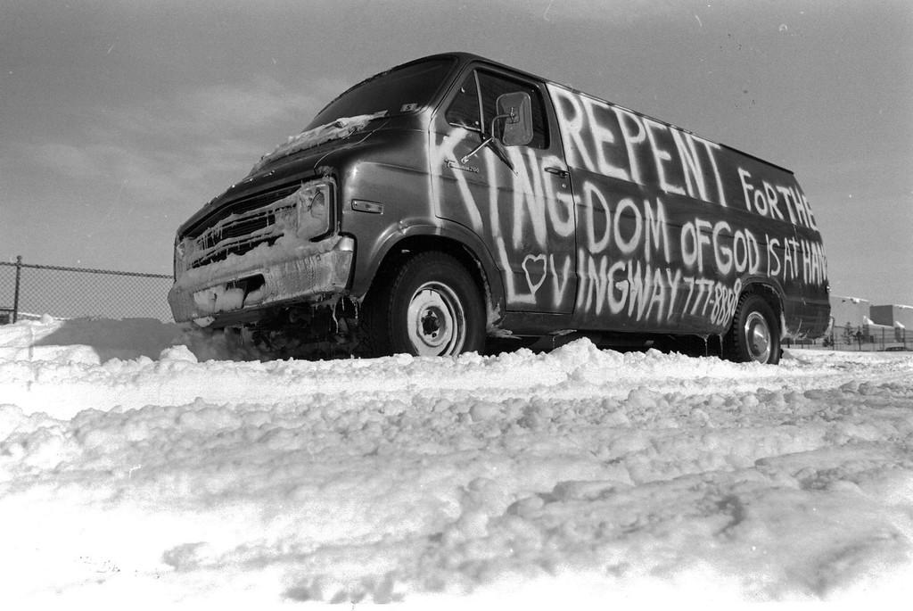 . Blizzard of \'82, Lovingway church van abandoned at 13th, one block west of Colo. Blvd. Denver Post Library Archive