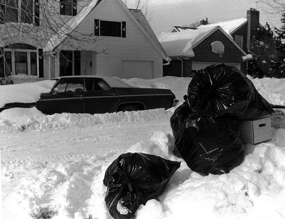 . Trash piles up after the Blizzard Of \'82. Denver Post Library Archive