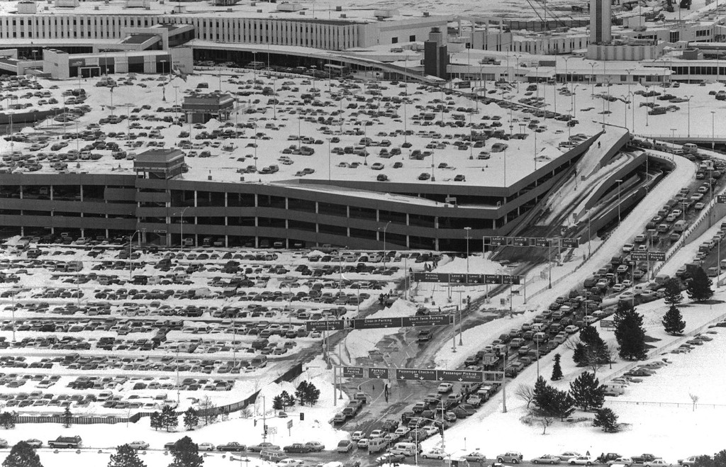 . Aerial view of the traffic at Stapleton after the Blizzard of \'82. Denver Post Library Archive
