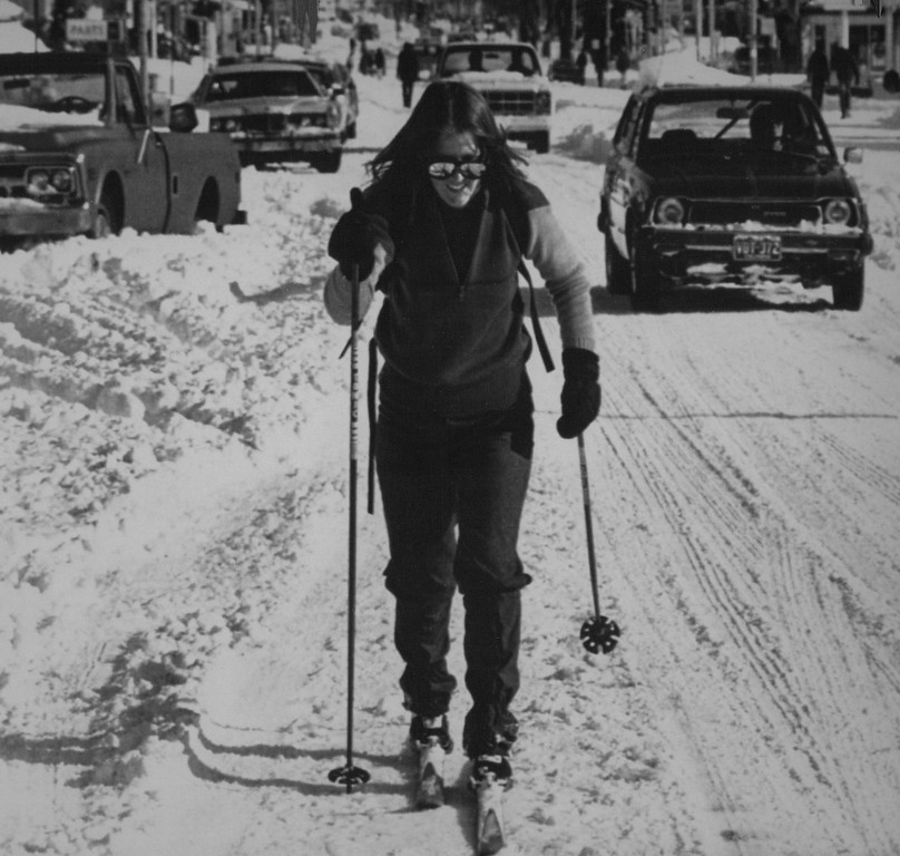 . Jenny Ball of Denver makes her way along Colfax Street in downtown Denver on Christmas Day on skis. More than two feet of snow on Christmas Eve paralyzed the city, stranding motorists and forcing residents of the Mile Hi City to seek other forms of transportation. 1982 Credit: AP Laserphoto. Denver Post Library Archive