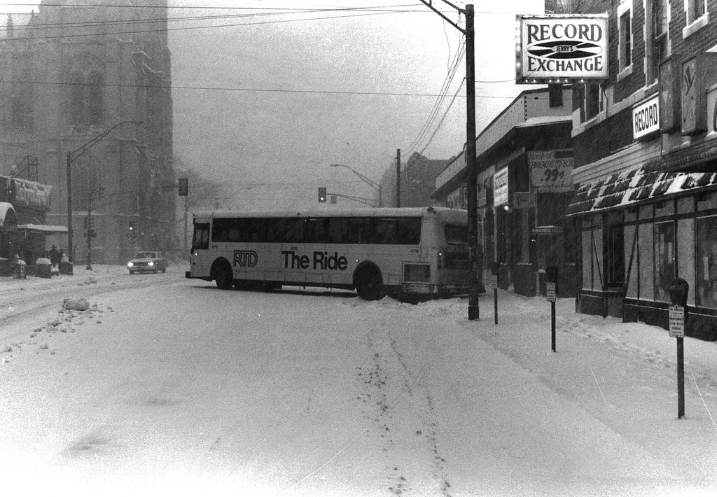 . A bus slides off the street during the Blizzard Of \'82. Denver Post Library Archive
