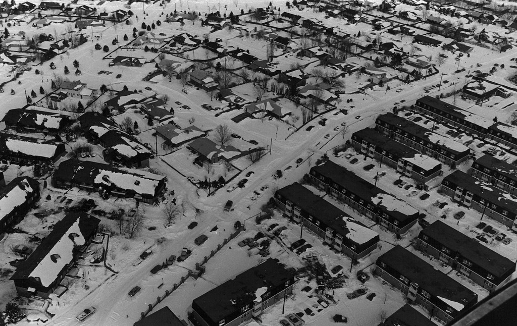 . An aerial view after the Blizzard of \'82. Denver Post Library Archive