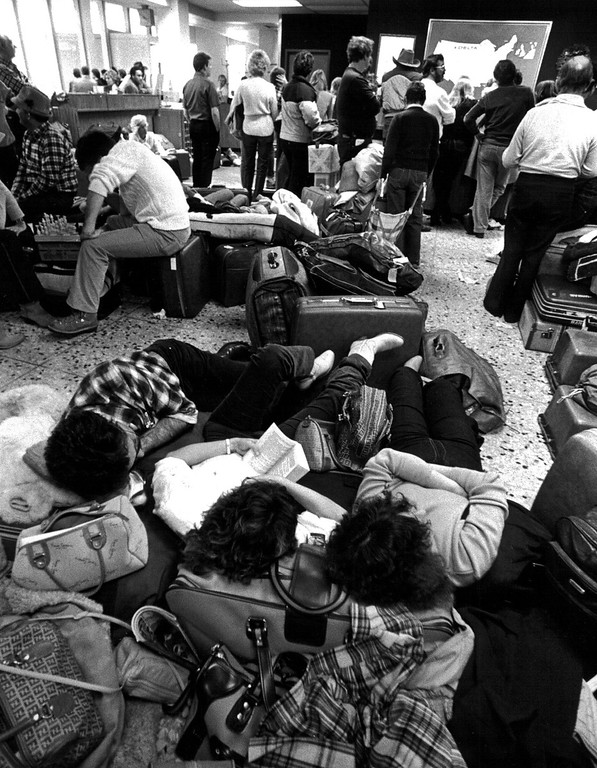 . Stranded travelers during the Blizzard of \'82. Denver Post Library Archive