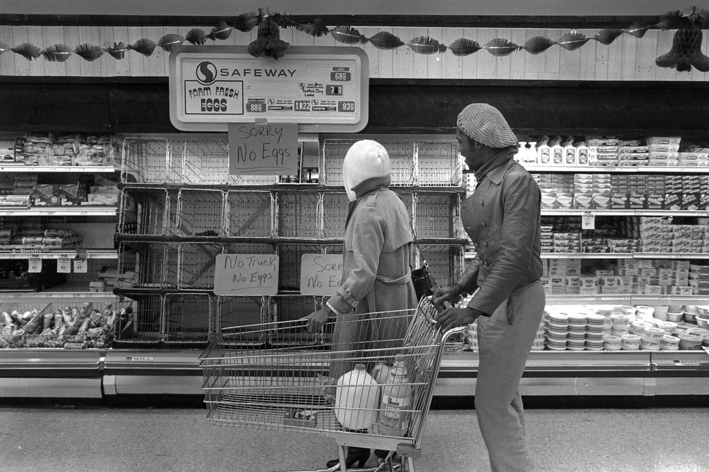 . No eggs were available at this store as the delivery trucks couldn\'t make it through the Blizzard of \'82. Denver Post Library Archive