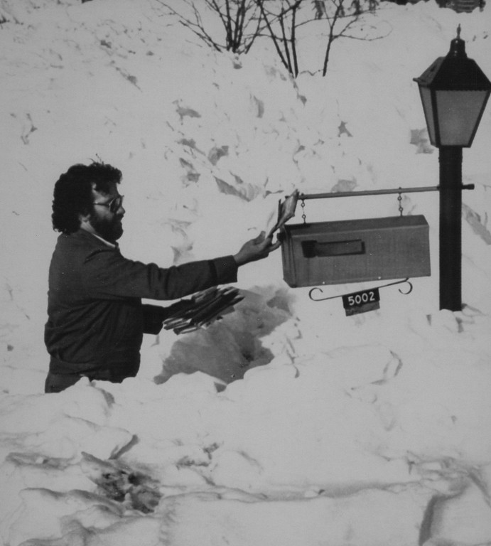 ". Mailman Robert Gallegos delivers mail amidst piles of snow Thursday afternoon in Montbello an eastern suburb of Denver. Although Mr. Gallegos said this was his second day back on the job since ""The Blizzard of \'82\"" hit the Mile High City on Christmas Eve he also remarked that he was between two and three hours behind schedule on his daily route. 1982. Credit: AP Laserphoto. Denver Post Library Archive"