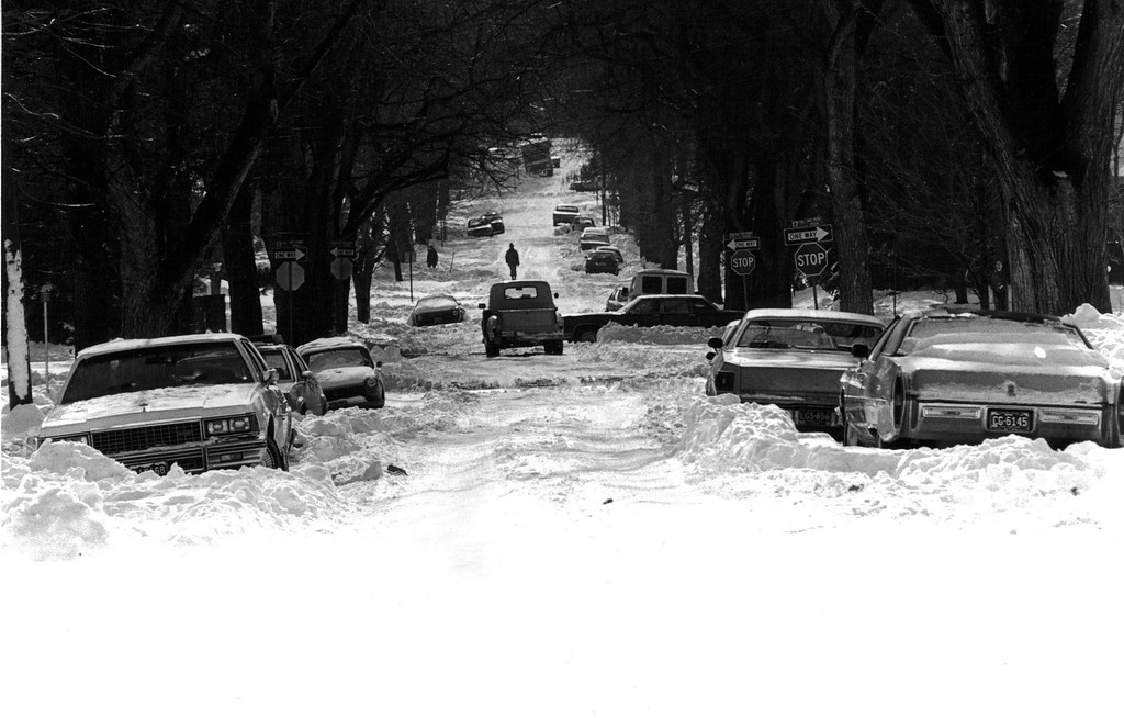 . Cars still stranded along the street after the Blizzard of \'82. Denver Post Library Archive