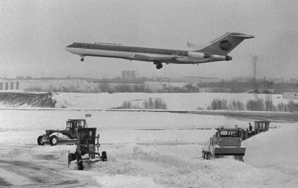 . Stapleton airport during the Blizzard of \'82. Anthony Suau, The Denver Post
