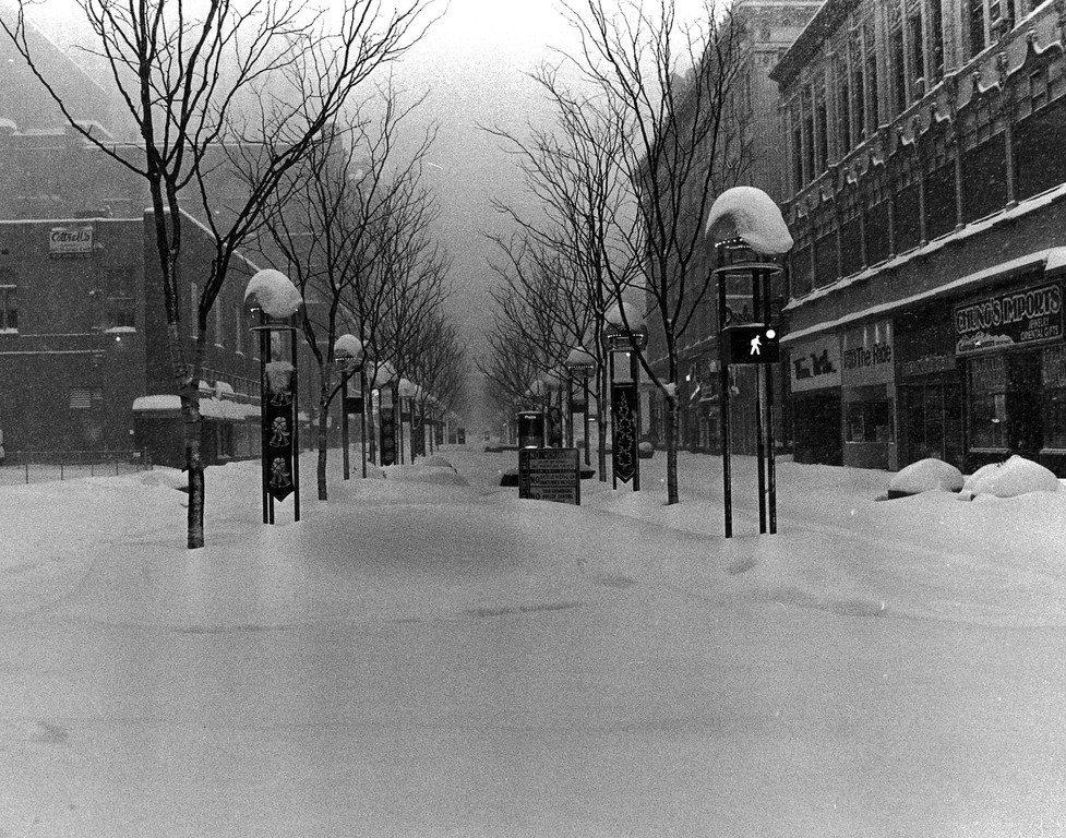 . The streets were buried with up to three feet of snow during the Blizzard of \'82. Denver Post Library Archive