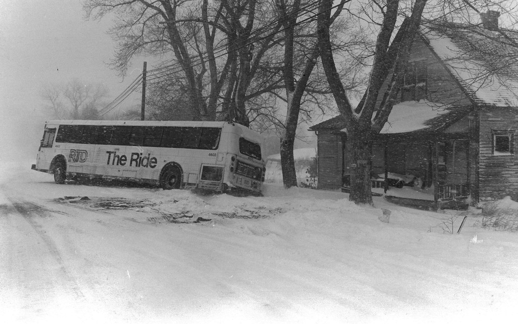 . A bus slid off the road during the Blizzard Of \'82. Denver Post Library Archive