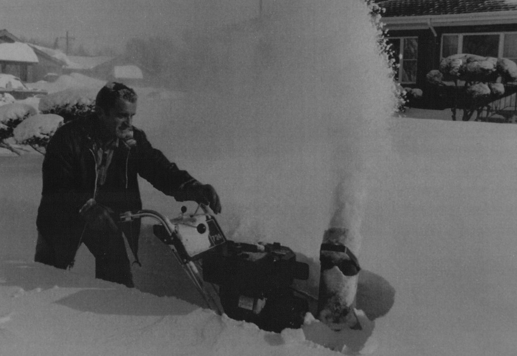 . John Facio of Denver uses a power snow blower to clear the sidewalk in front of his home. Residents of the Mile High City will be clearing snow for some time after a severe winter storm on Christmas Eve 1982 dumped more than two-feet of snow on the area. Credit: AP Leaercolor. Denver Post Library Archive
