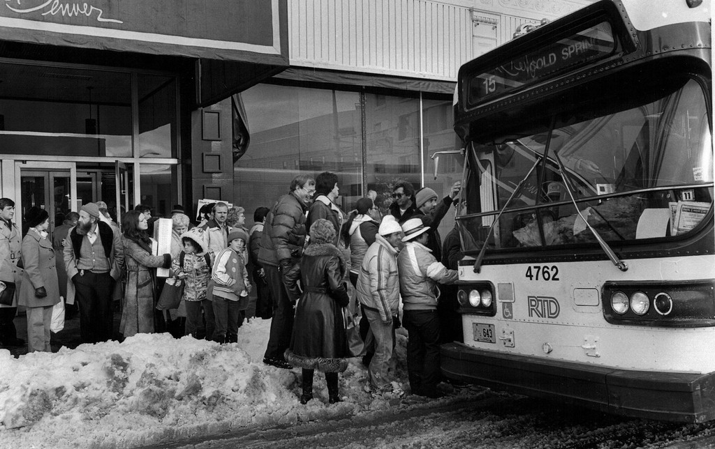 . People line up to catch the bus after the Blizzard of \'82. Denver Post Library Archive