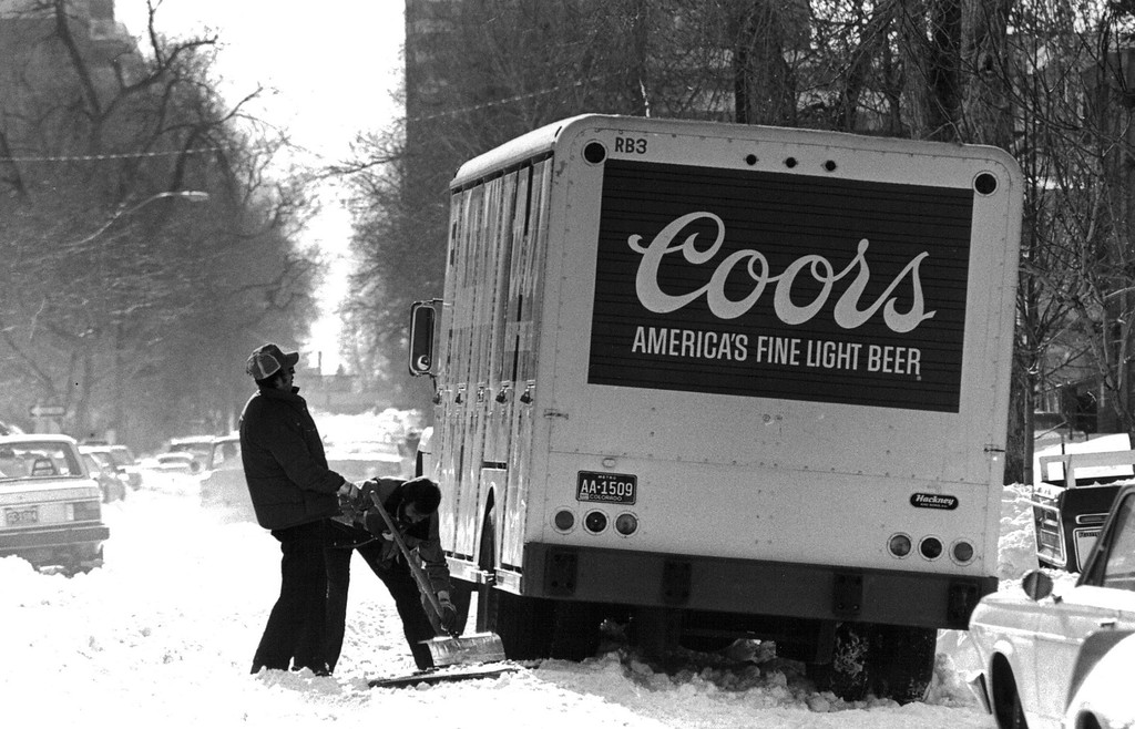 . A Coors delivery truck stuck in the street after the Blizzard of \'82. Denver Post Library Archive
