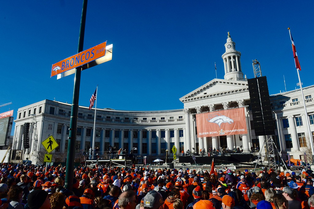 . DENVER, CO - FEBRUARY 9: Broncos Super Bowl Championship parade gathering at Civic Center Tuesday morning, February 9, 2016. (Andy Cross/The Denver Post)