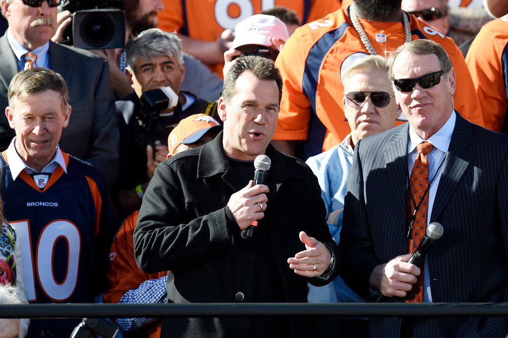 . Head coach Gary Kubiak speaks during the Denver Broncos Super Bowl championship celebration and parade on Tuesday February 9, 2016. (Photo By AAron Ontiveroz/The Denver Post)