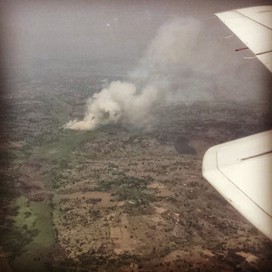 Bush fire on route back to Entebbe