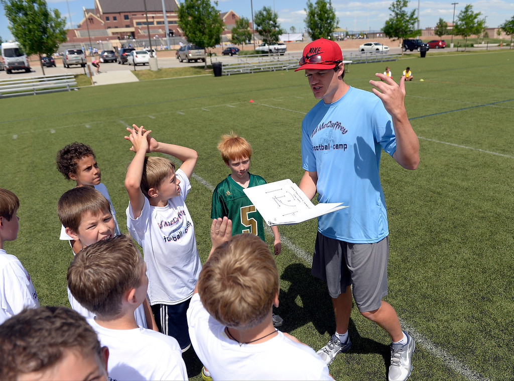 """. Miami Dolphins quarterback Aaron Corp out plays to his team during seven-on-seven at The Ed McCaffrey \""""Open\"""" Football Camp June 25, 2013 at Valor High School.   (Photo By John Leyba/The Denver Post)"""