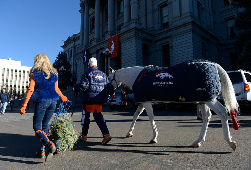 . Ann Wegener, left, and Sharon Magness Blake, center, bring �Thunder� the Denver Broncos mascot, to the west steps of the Colorado State Capitol Friday morning, January 17, 2014 to greet Colorado Governor, John Hickenlooper. (Photo By Andy Cross / The Denver Post)