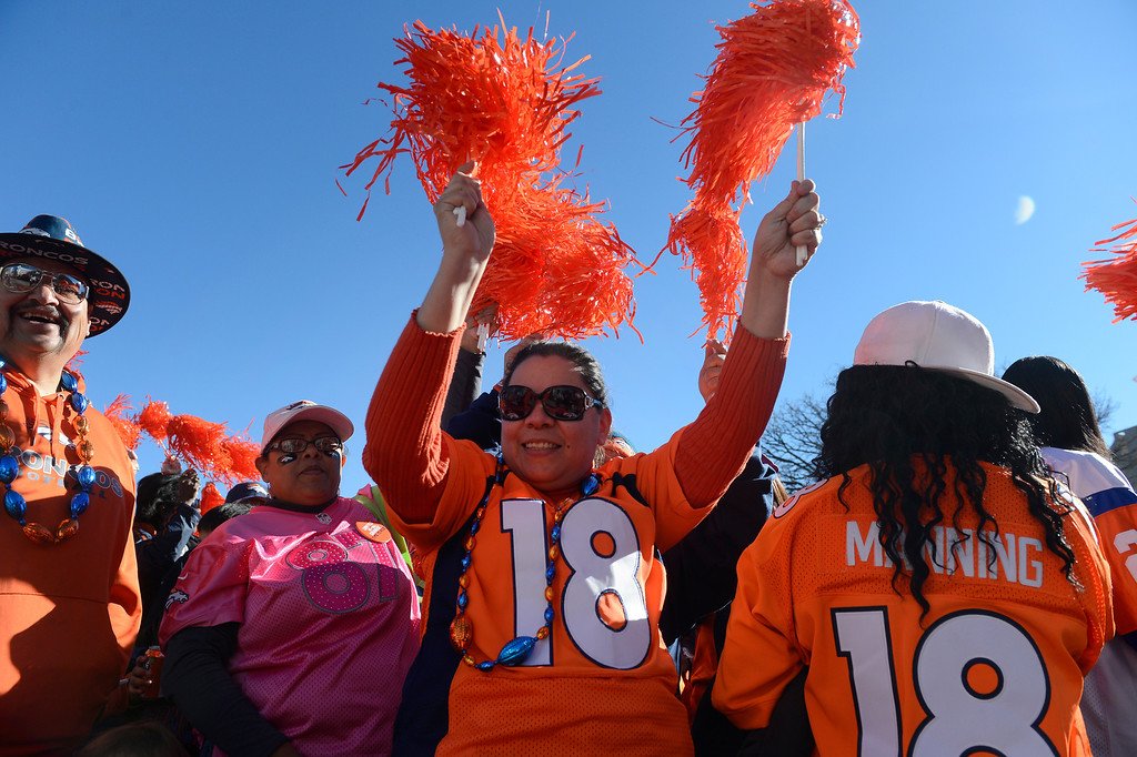 . DENVER, CO. - JANUARY 17: Denver Broncos fans celebrate at a Denver  Broncos rally at Civic Center Park Friday afternoon, January 17, 2014. (Photo By Andy Cross / The Denver Post)
