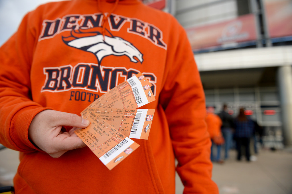 . Broncos fan Marc Sleight was able to buy four tickets for the up coming game at Sports Authority Field at Mile High, January, 10 2014. The Denver Broncos will take on the San Diego Chargers in the second round of the NFL playoffs in Denver. (Photo by RJ Sangosti/The Denver Post)