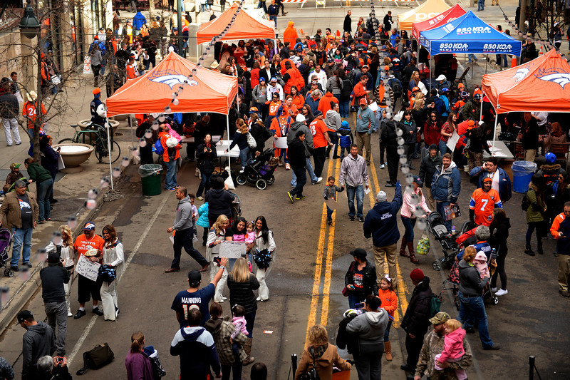 . Fans gather to show their support for the Denver Broncos at Denver Pavilions on the 16th Street Mall for their playoff run on as the team prepares to host the San Diego Chargers in an AFC Divisional Playoff Game. (Photo By Joe Amon/The Denver Post)