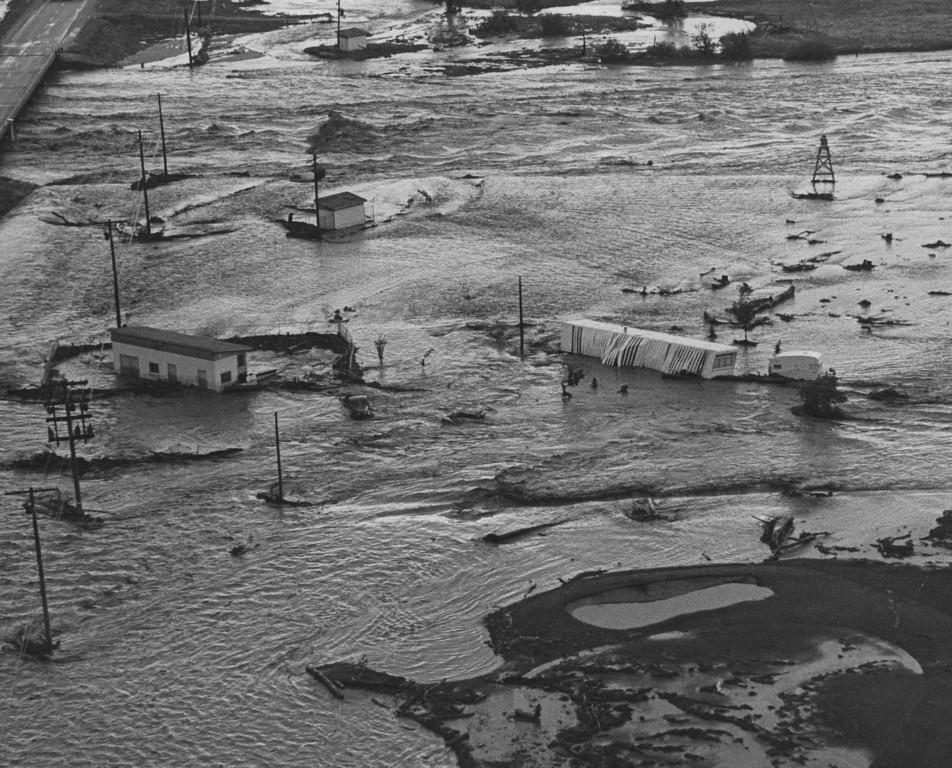 . JUN 16 1965  House trailer & buildings overwhelmed by the Platte River.  (Dave Buresh/ The Denver Post)