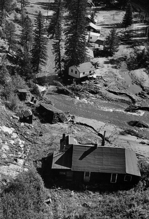. AUG 3 1976  Cabins about 1/4 mile west of Glen Haven (2 persons killed here)  (Dave Buresh/ The Denver Post)
