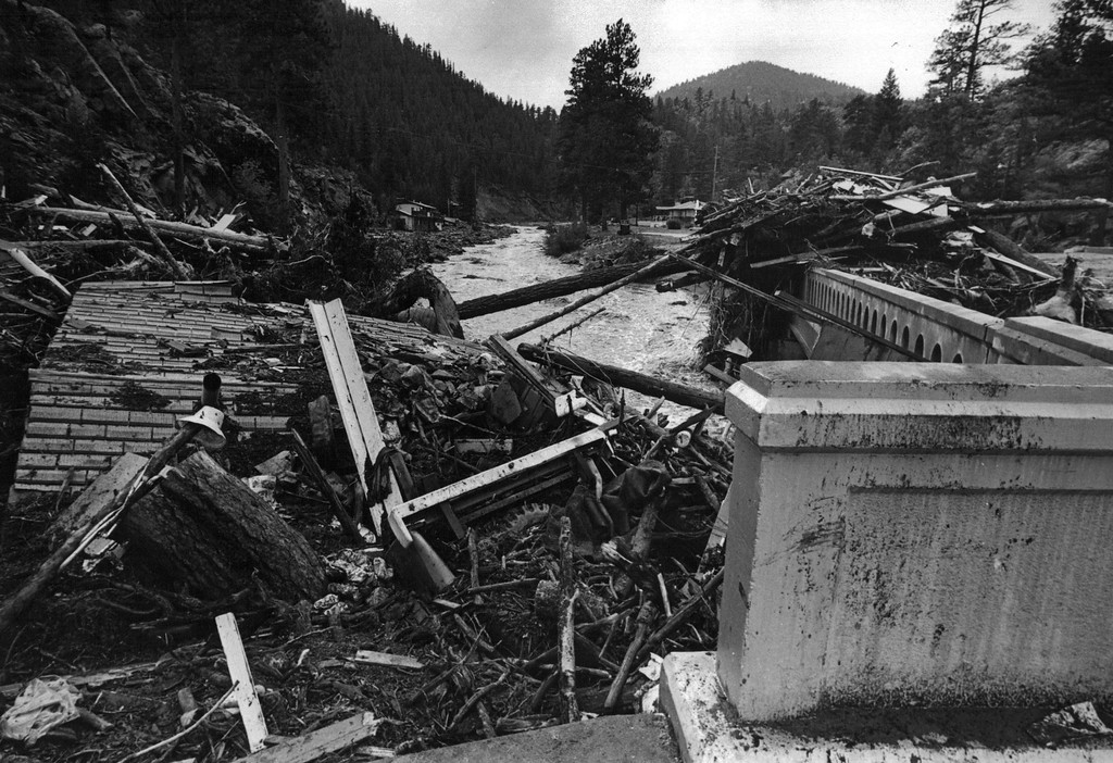 . AUG 1 1976  Big Thompson River Canyon (1976 Flood)  (Ernie Leyba/ The Denver Post)