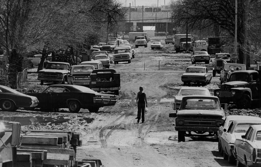 . APR 14 1973  Muddy But Passable. Kersey\'s Fourth Street was muddied by Thursday\'s flood, but the road was open and passable by Saturday morning.  (Bill Wunsch/ The Denver Post)