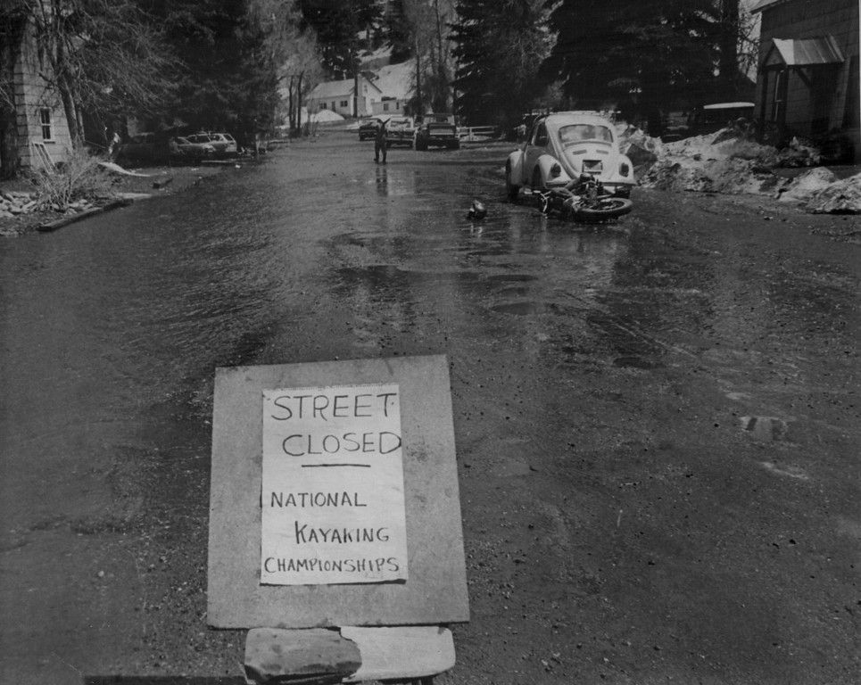 . APR 27 1974  SOMEONE SAW HUMOR IN FLOODED CONDITIONS AT STEAMBOAT SPRINGS, COLO. Sandbagging along the Yampa River is expected to prevent any serious flooding in West Slope town.  (Lenny Brooks/ The Denver Post)