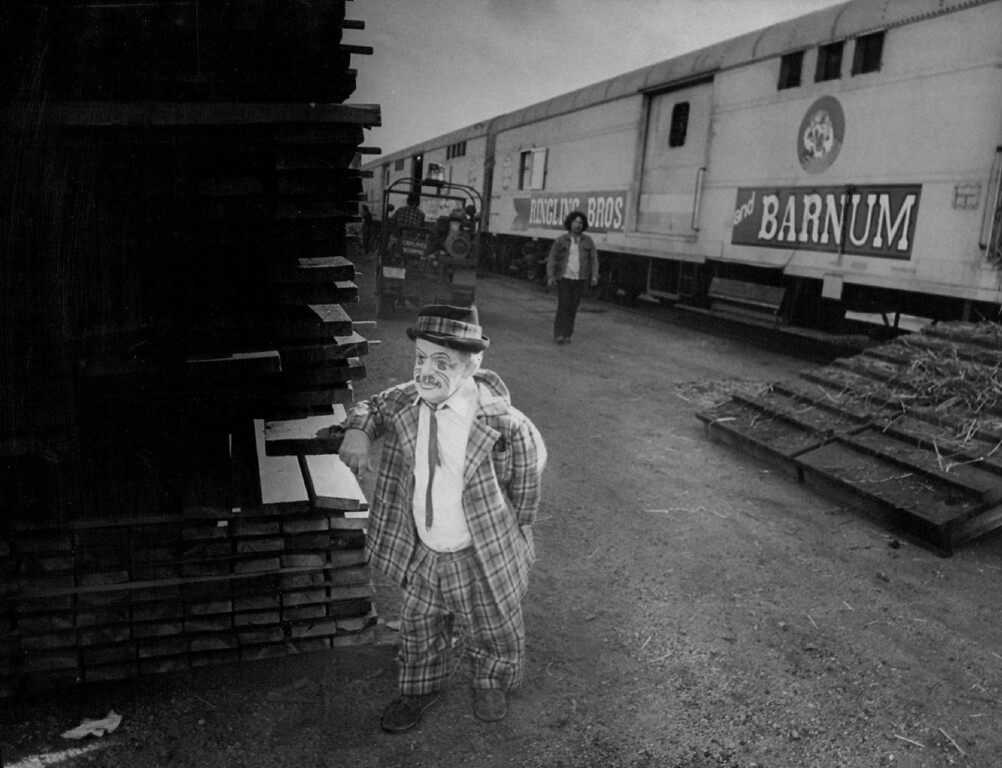 . SEP 19 1973 - Circus Clown is New in Town Frank Solugo, who joined the Ringling Bros, and Barnum  & Bailey Circus in 1929, looks around the area after arriving in Denver aboard circus train Wednesday. About  30 youngsters showed up to welcome the performers and circus animals to Denver for a five-day run at Coliseum. (David Cupp/The Denver Post)