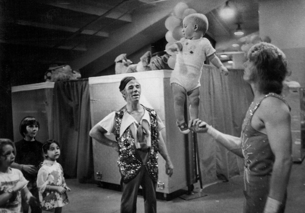 """. SEP 27 1973 - \""""If you could turn back the clock, that could be my father throwing me up in air (backstage) instead of Tony (Pio\'s son) and Alexandra (Pio\'s granddaughter). (Denver Post digital archive photo)"""