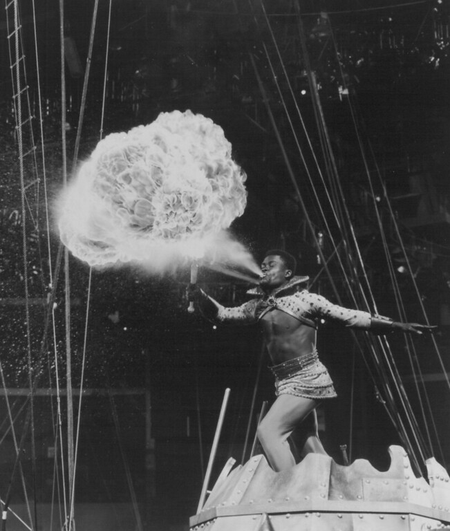 . 10/2/1998  It�s hot, hot, hot at The Greatest Show on Earth! Vesuvius, The Human Volcano, heats up the arena with his dazzling pyrotechnics at Ringling Bros, and Barnum & Bailey. (Denver Post digital archive photo)