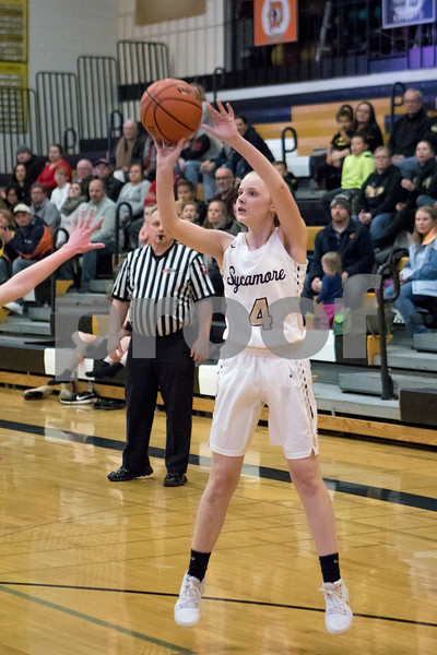 Sam Buckner for Shaw Media.<br /> Joslynn Michels takes a jump shot on Tuesday January 2, 2018 against Genoa-Kingston.