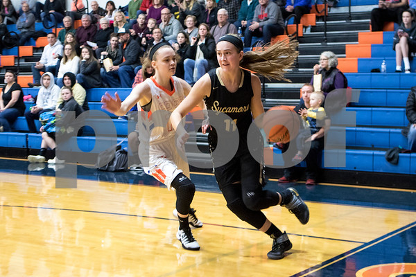 Sam Buckner for Shaw Media.<br /> Julie Galauner guards Kate Majerus of Sycamore on Tuesday January 3, 2017.