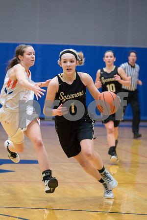 Sam Buckner for Shaw Media.<br /> Kylie Feuerbach drives to the basket on a breakaway against Genoa-Kingston on Tuesday January 3, 2017.