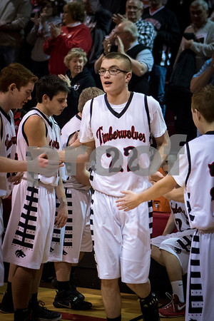 Sam Buckner for Shaw Media.<br /> Nolan govig gets announced in the starting lineup against Leland-Earlville on Friday January 6, 2017.